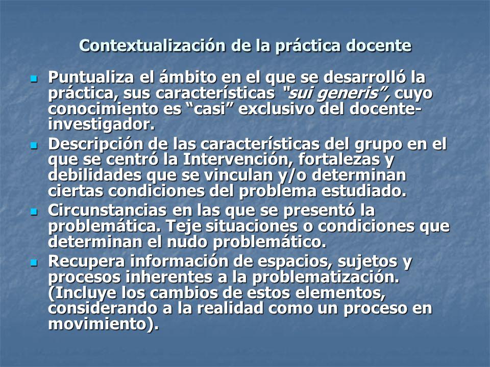 Contextualización de la práctica docente