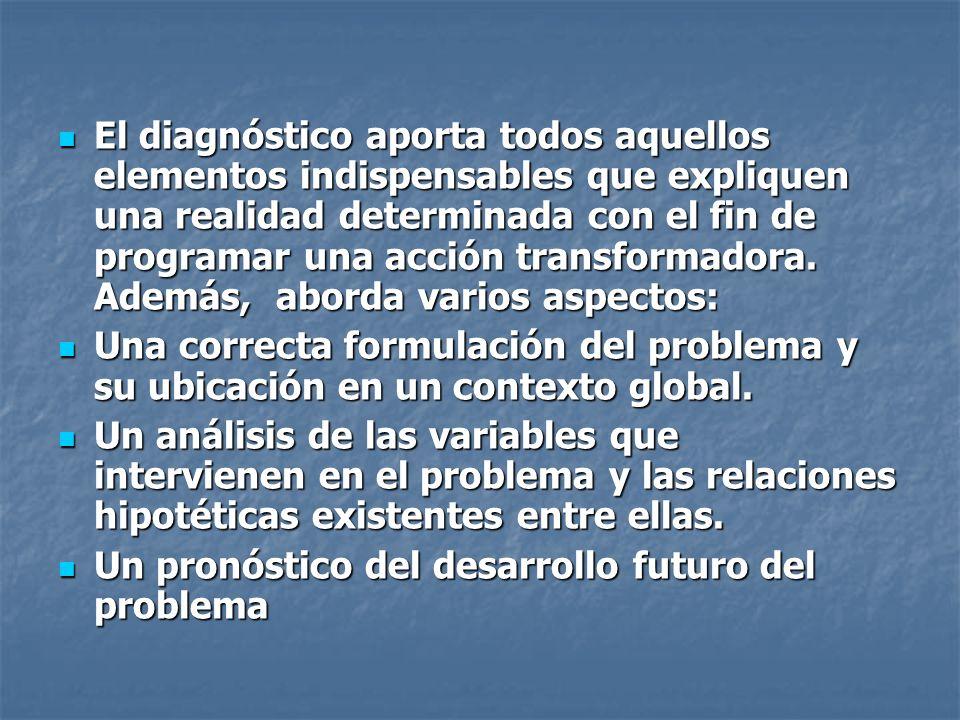 El diagnóstico aporta todos aquellos elementos indispensables que expliquen una realidad determinada con el fin de programar una acción transformadora. Además, aborda varios aspectos: