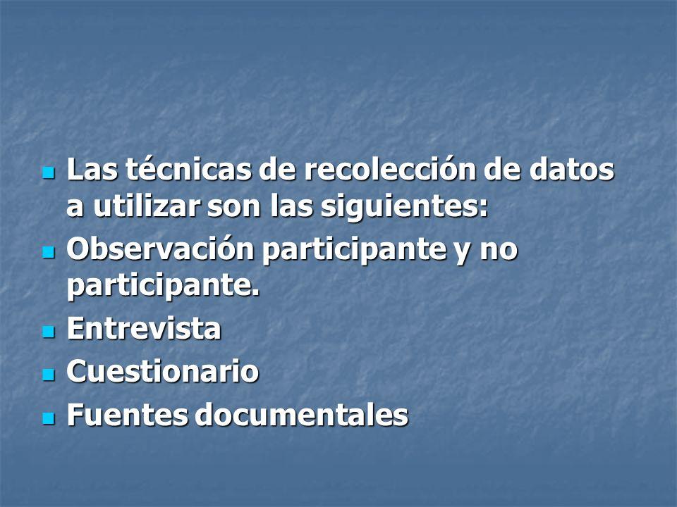 Las técnicas de recolección de datos a utilizar son las siguientes: