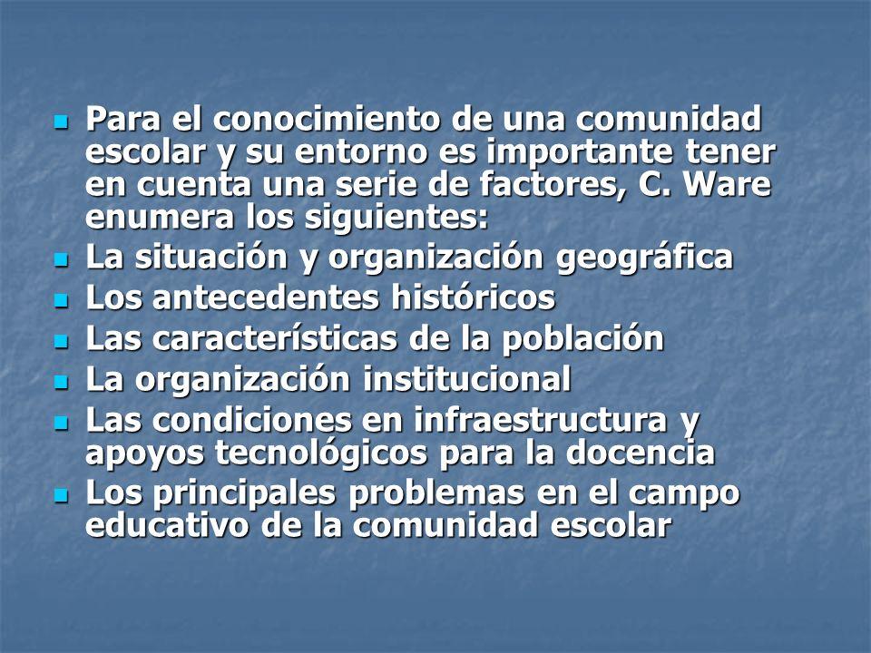Para el conocimiento de una comunidad escolar y su entorno es importante tener en cuenta una serie de factores, C. Ware enumera los siguientes: