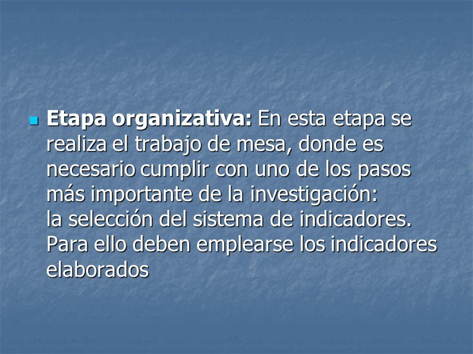 Etapa organizativa: En esta etapa se realiza el trabajo de mesa, donde es necesario cumplir con uno de los pasos más importante de la investigación: la selección del sistema de indicadores.