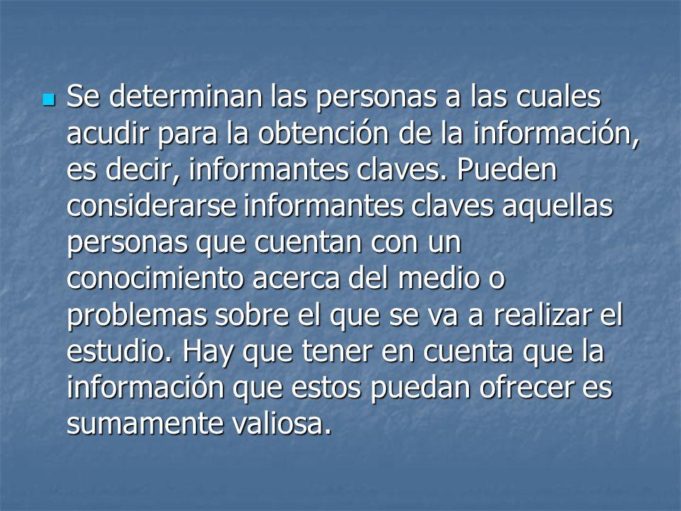 Se determinan las personas a las cuales acudir para la obtención de la información, es decir, informantes claves.