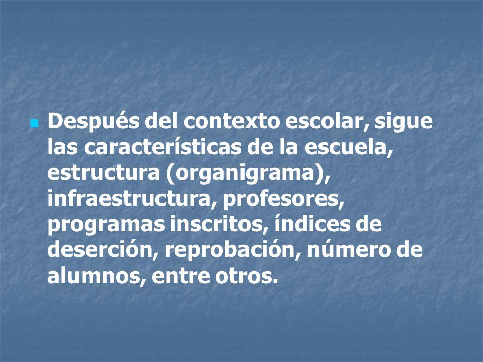 Después del contexto escolar, sigue las características de la escuela, estructura (organigrama), infraestructura, profesores, programas inscritos, índices de deserción, reprobación, número de alumnos, entre otros.