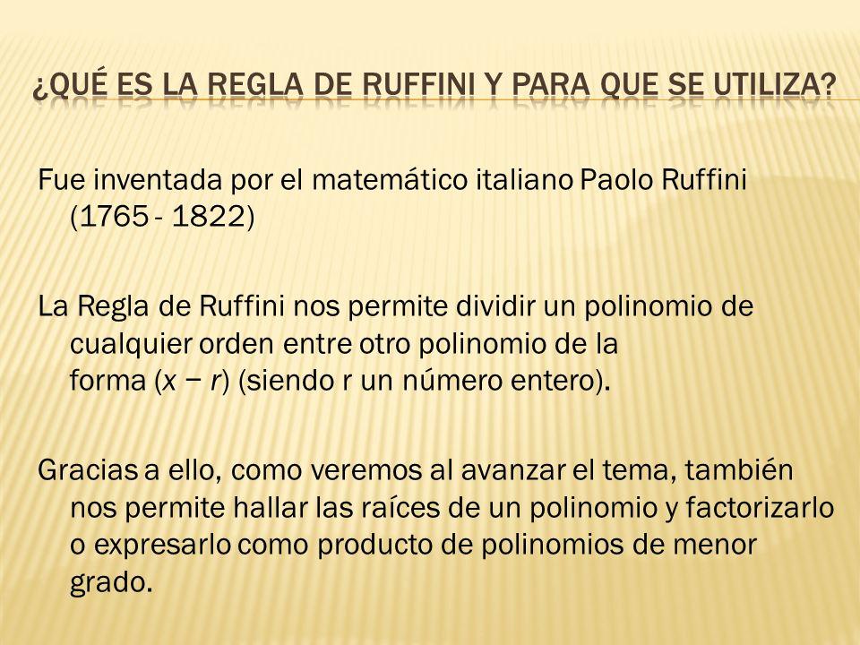 ¿qué es la regla de ruffini y para que se utiliza