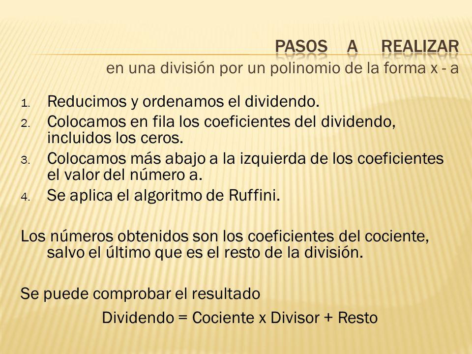 Dividendo = Cociente x Divisor + Resto