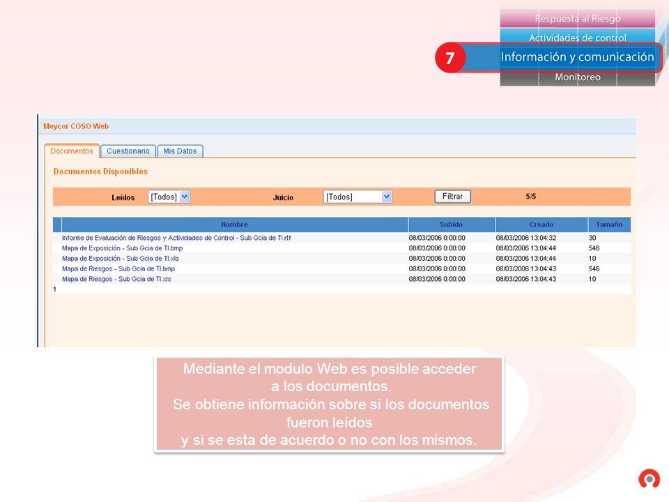 Mediante el modulo Web es posible acceder a los documentos.