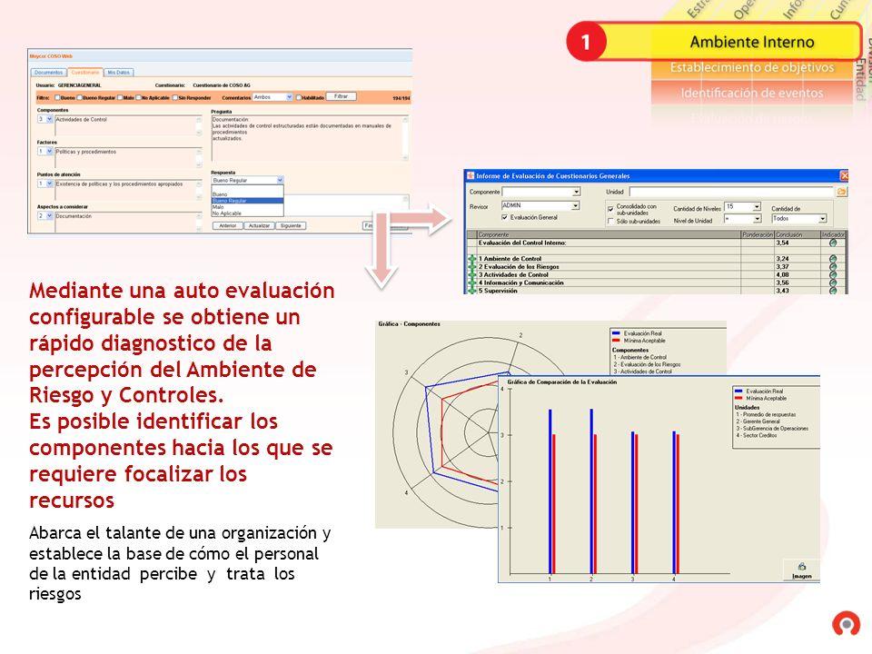 Mediante una auto evaluación configurable se obtiene un rápido diagnostico de la percepción del Ambiente de Riesgo y Controles.