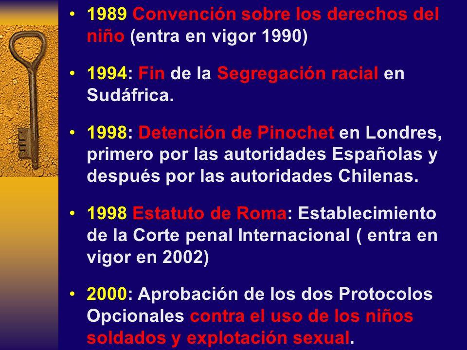 1989 Convención sobre los derechos del niño (entra en vigor 1990)