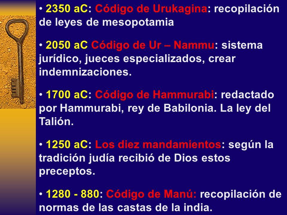 2350 aC: Código de Urukagina: recopilación de leyes de mesopotamia