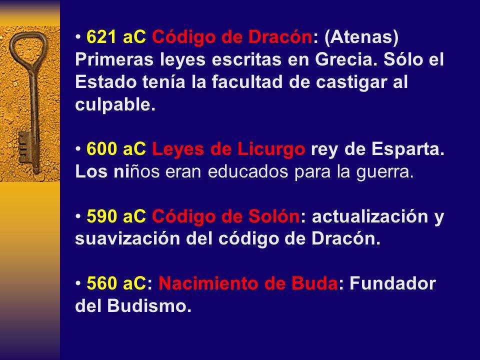 621 aC Código de Dracón: (Atenas) Primeras leyes escritas en Grecia
