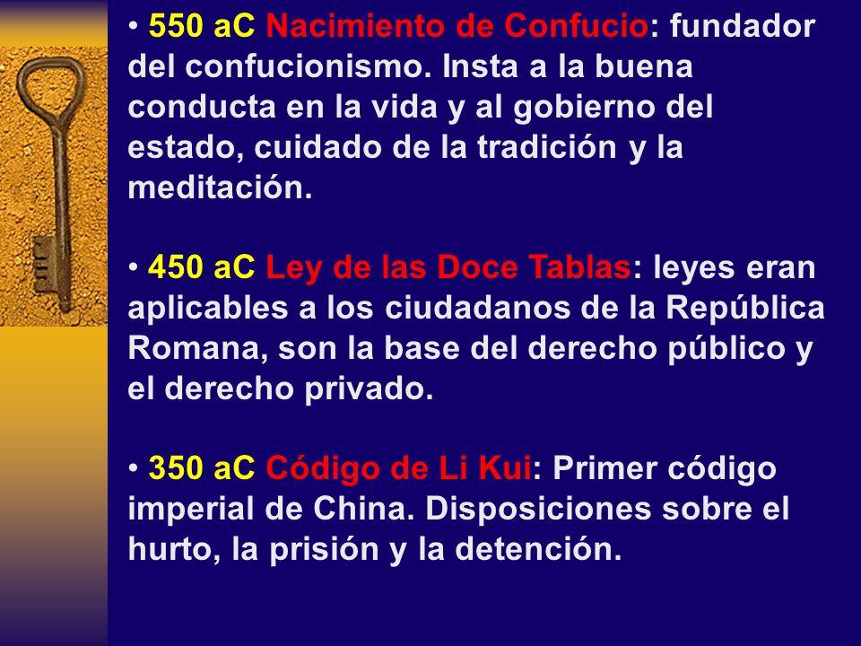 550 aC Nacimiento de Confucio: fundador del confucionismo