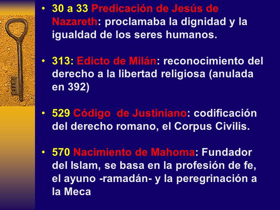 30 a 33 Predicación de Jesús de Nazareth: proclamaba la dignidad y la igualdad de los seres humanos.