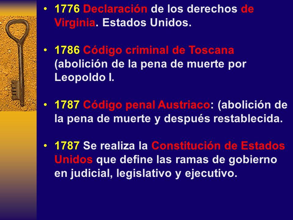 1776 Declaración de los derechos de Virginia. Estados Unidos.
