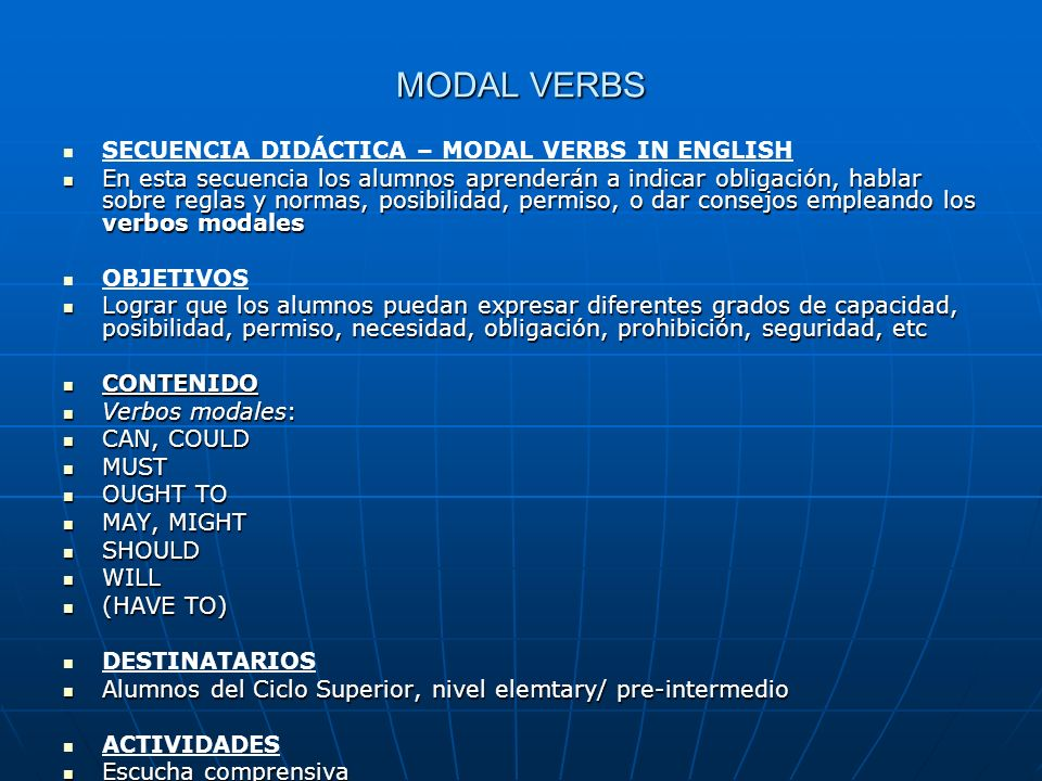 MODAL VERBS SECUENCIA DIDÁCTICA – MODAL VERBS IN ENGLISH