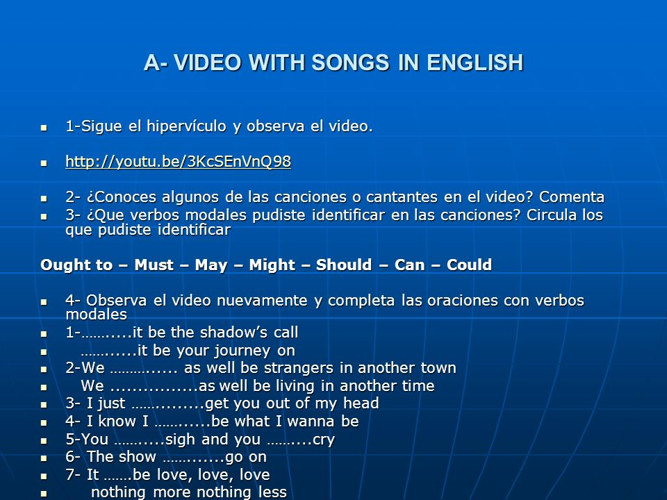 A- VIDEO WITH SONGS IN ENGLISH