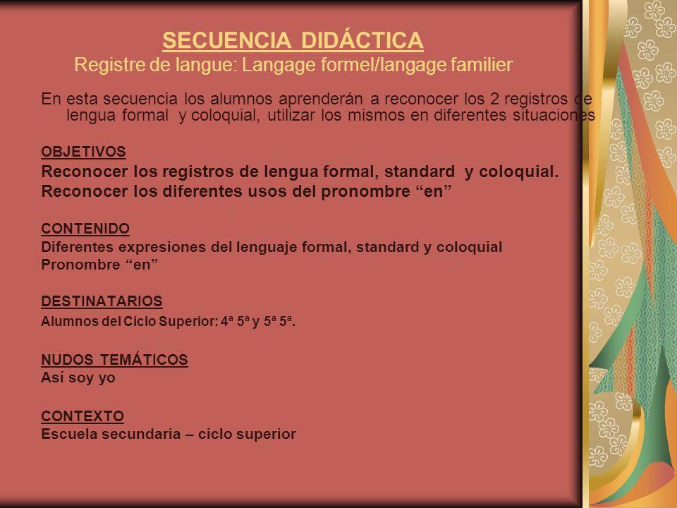 SECUENCIA DIDÁCTICA Registre de langue: Langage formel/langage familier
