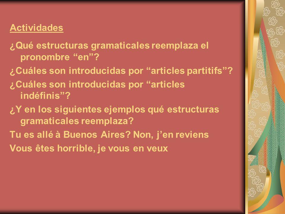 Actividades ¿Qué estructuras gramaticales reemplaza el pronombre en ¿Cuáles son introducidas por articles partitifs