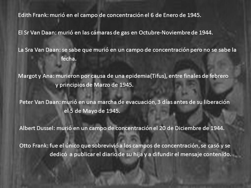 Edith Frank: murió en el campo de concentración el 6 de Enero de 1945.