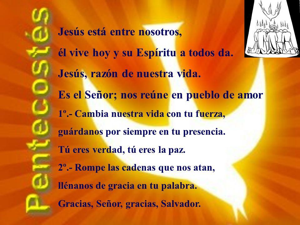 Jesús está entre nosotros, él vive hoy y su Espíritu a todos da.