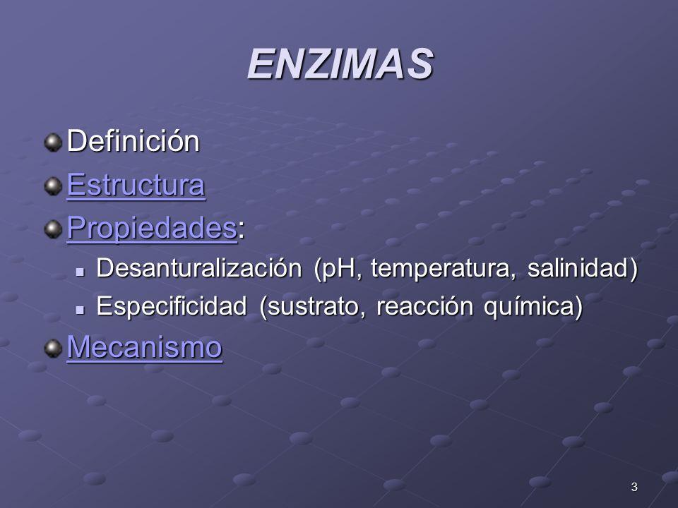 ENZIMAS Definición Estructura Propiedades: Mecanismo