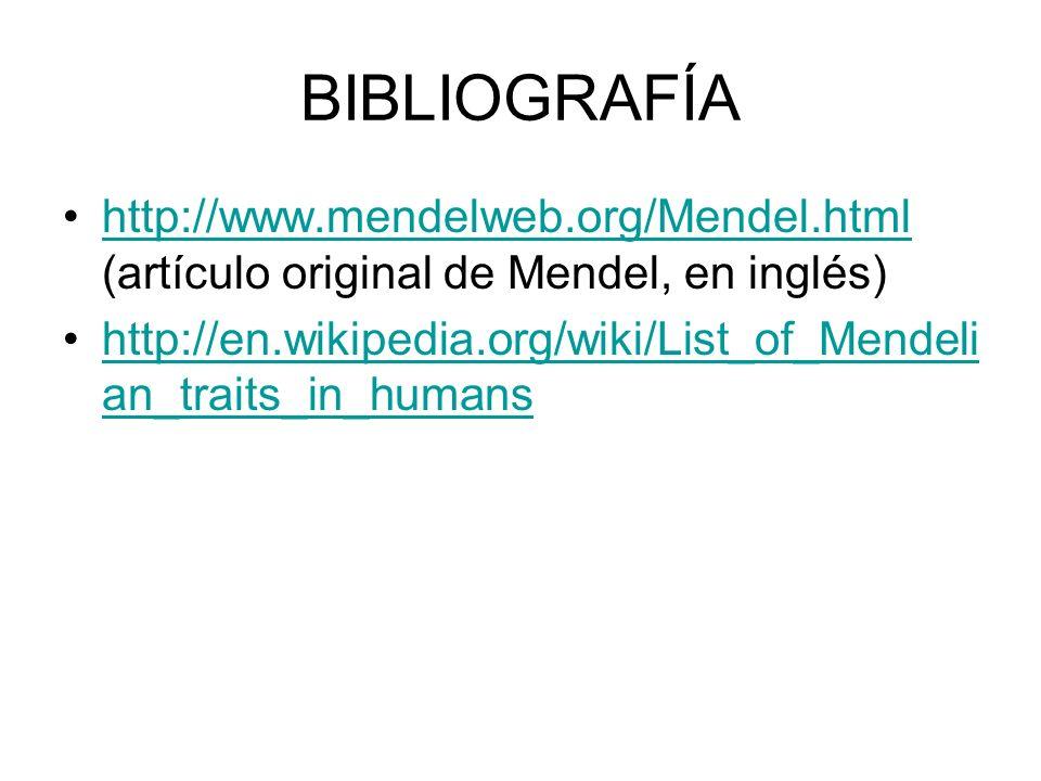BIBLIOGRAFÍA http://www.mendelweb.org/Mendel.html (artículo original de Mendel, en inglés)