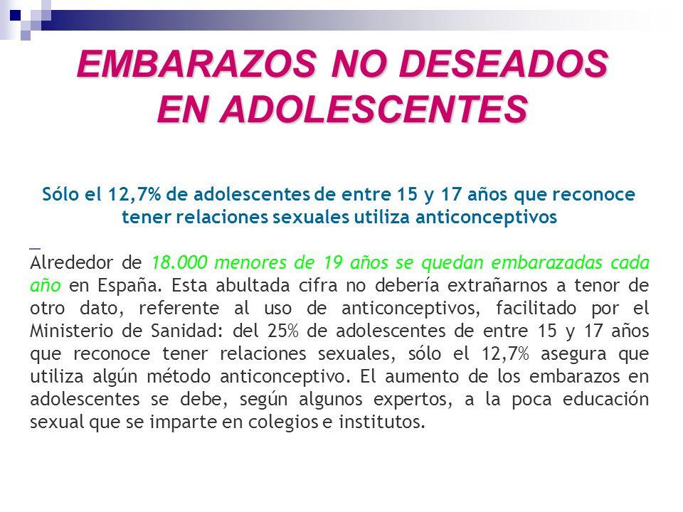 EMBARAZOS NO DESEADOS EN ADOLESCENTES