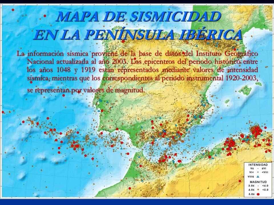 MAPA DE SISMICIDAD EN LA PENÍNSULA IBÉRICA