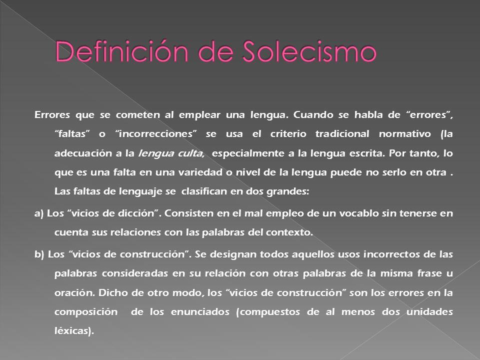 Definición de Solecismo