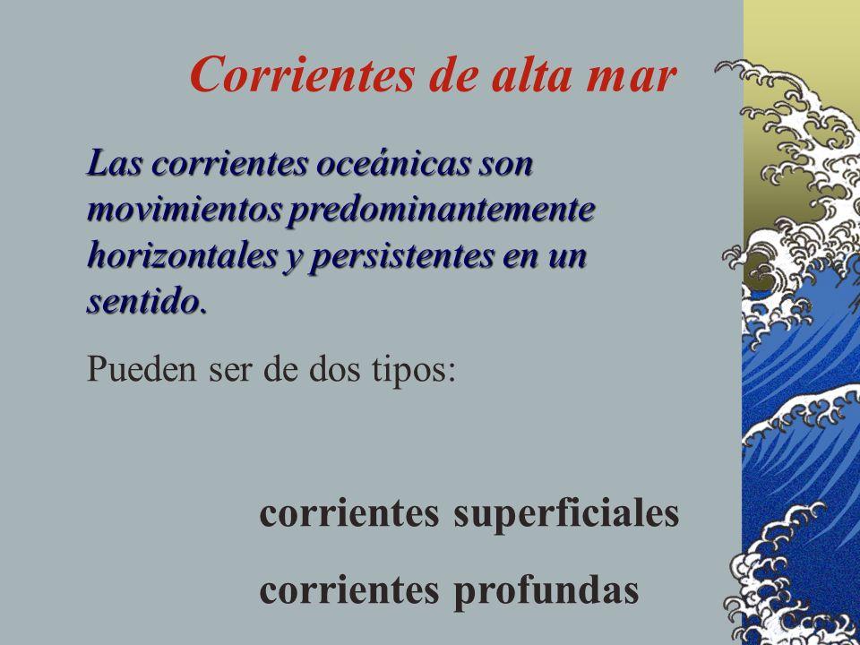 Corrientes de alta mar Las corrientes oceánicas son movimientos predominantemente horizontales y persistentes en un sentido.