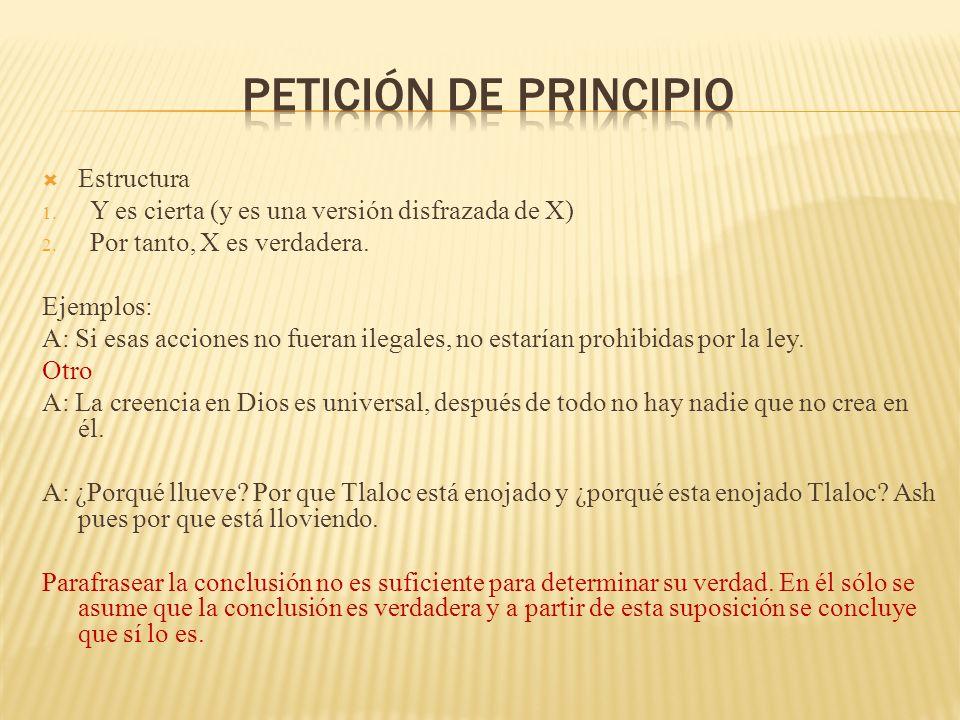 Petición de principio Estructura