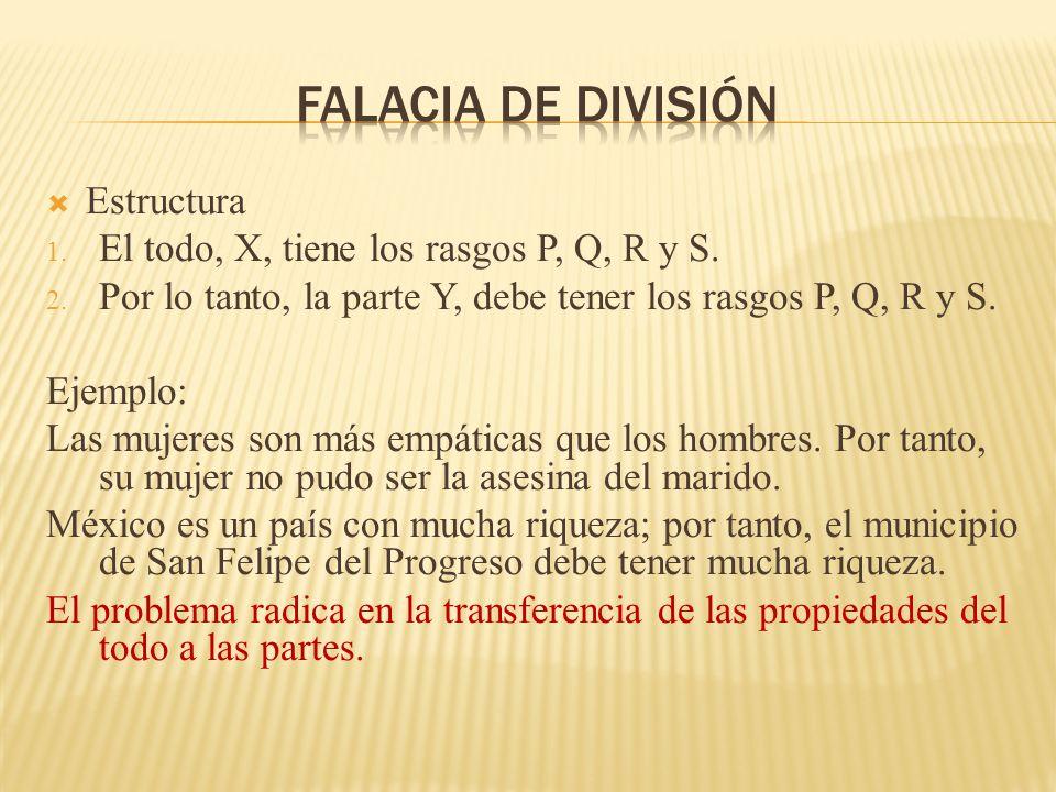 Falacia de división Estructura