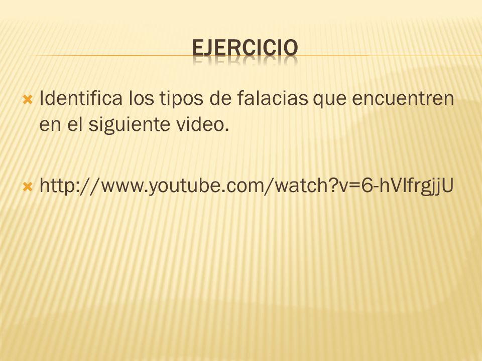 Ejercicio Identifica los tipos de falacias que encuentren en el siguiente video.