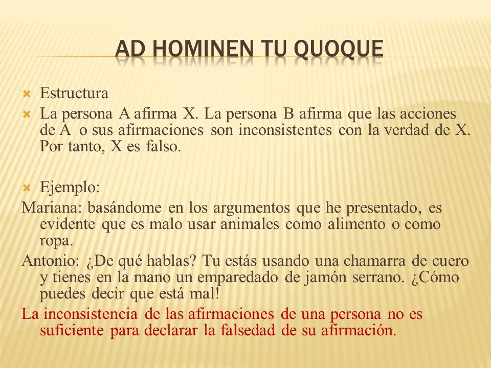 Ad hominen tu quoque Estructura