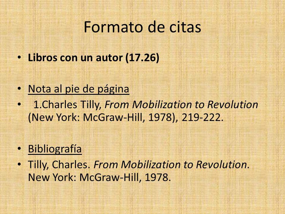 Formato de citas Libros con un autor (17.26) Nota al pie de página