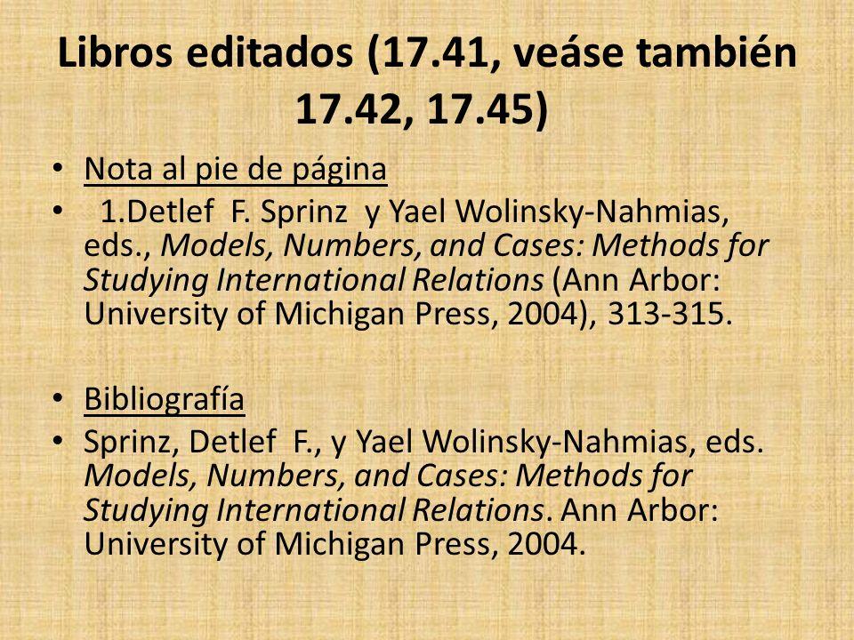 Libros editados (17.41, veáse también 17.42, 17.45)