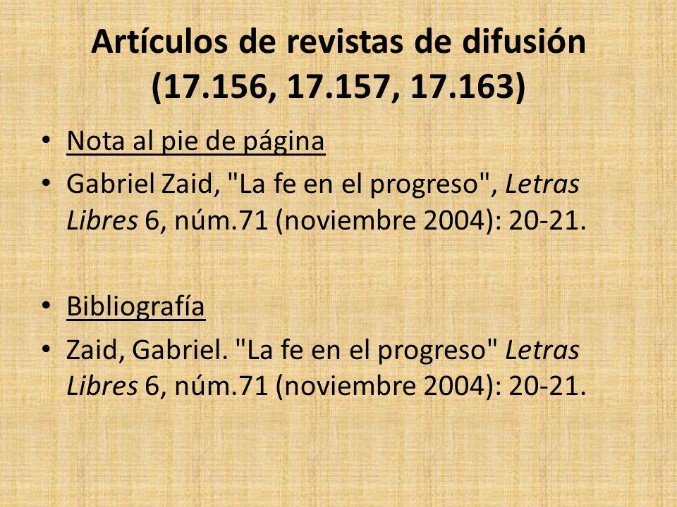 Artículos de revistas de difusión (17.156, 17.157, 17.163)