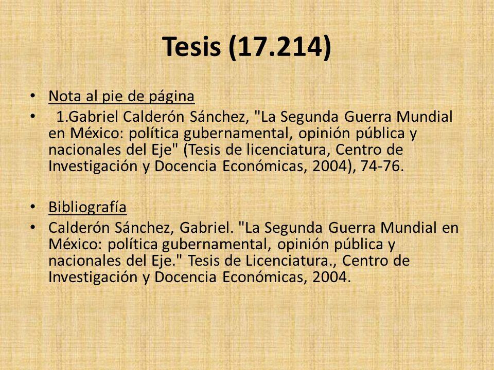 Tesis (17.214) Nota al pie de página
