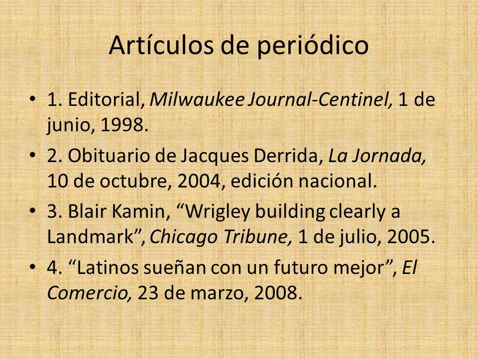 Artículos de periódico