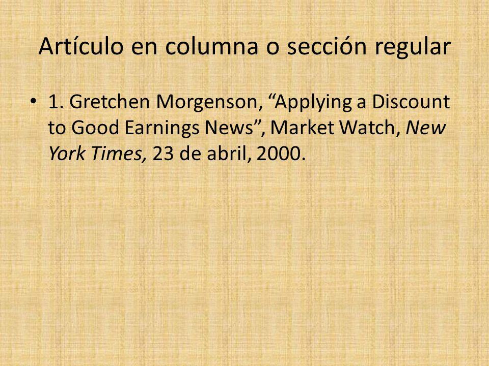 Artículo en columna o sección regular