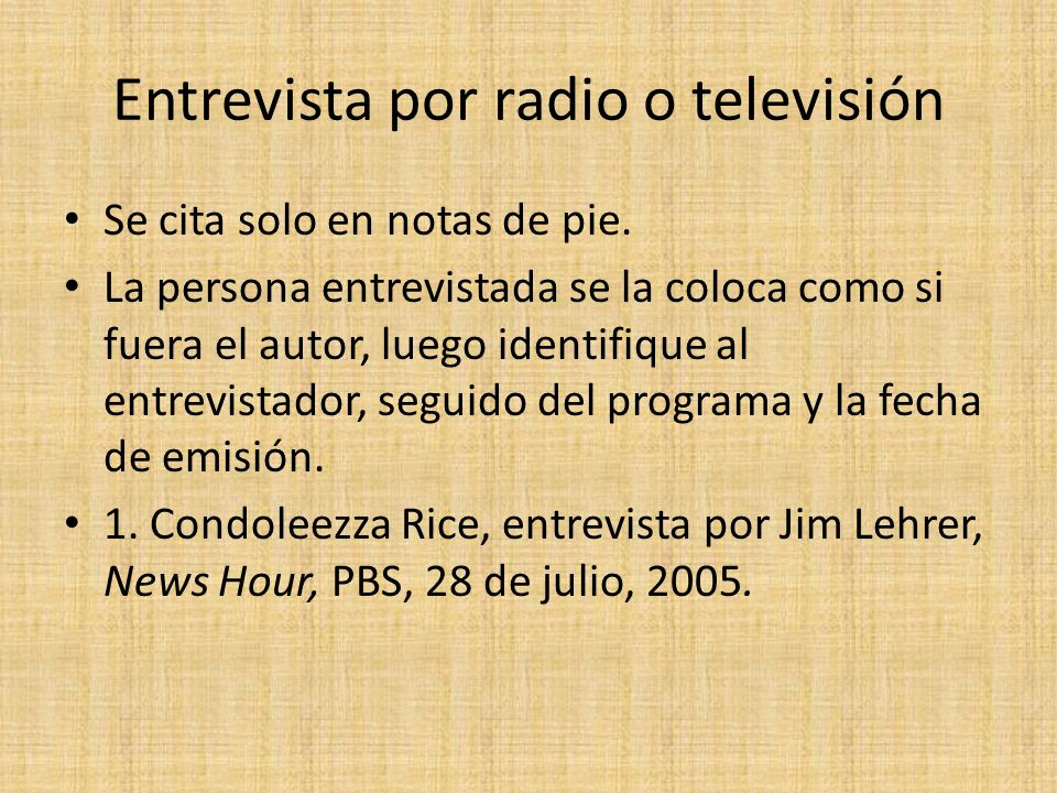 Entrevista por radio o televisión