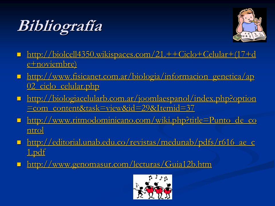 Bibliografía http://biolcell4350.wikispaces.com/21.++Ciclo+Celular+(17+de+noviembre)