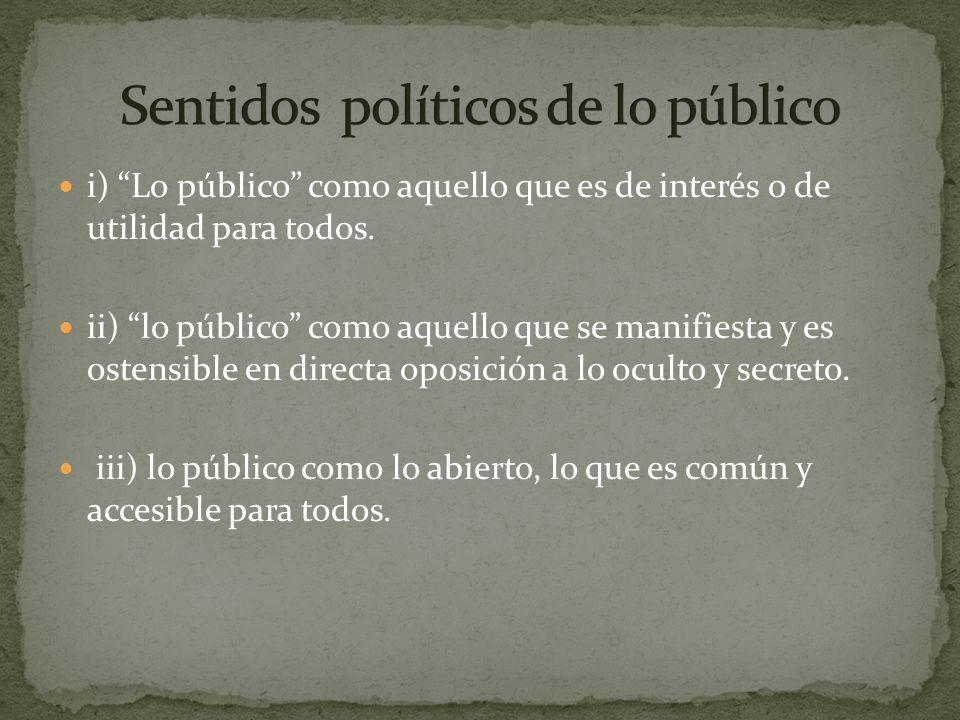 Sentidos políticos de lo público