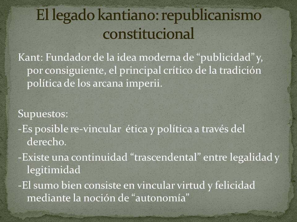 El legado kantiano: republicanismo constitucional