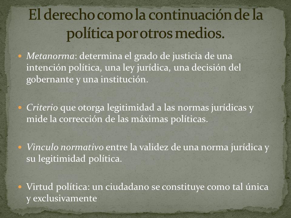 El derecho como la continuación de la política por otros medios.