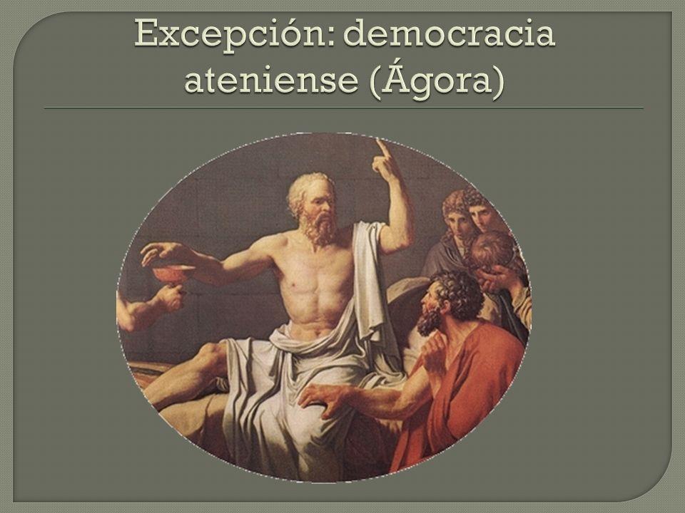 Excepción: democracia ateniense (Ágora)