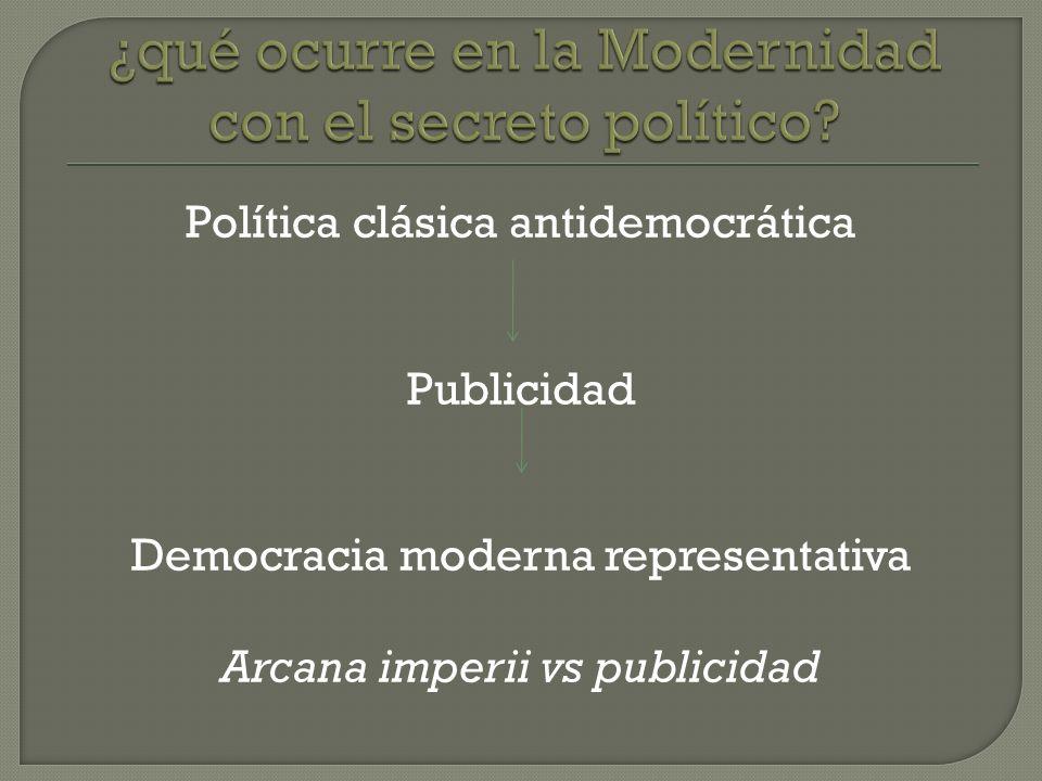 ¿qué ocurre en la Modernidad con el secreto político