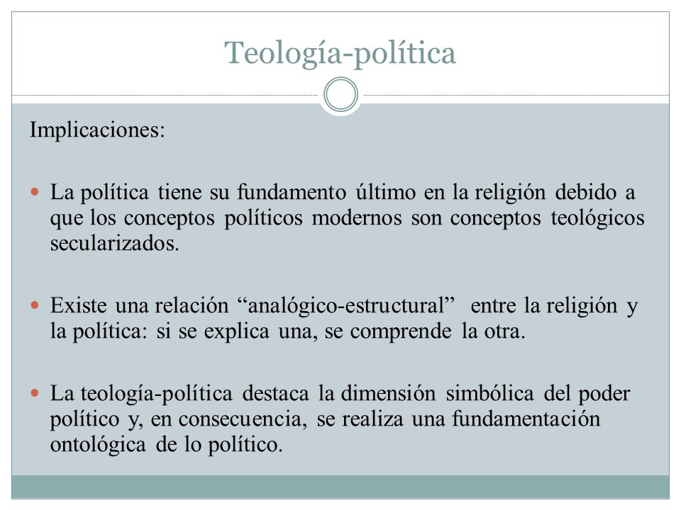 Teología-política Implicaciones:
