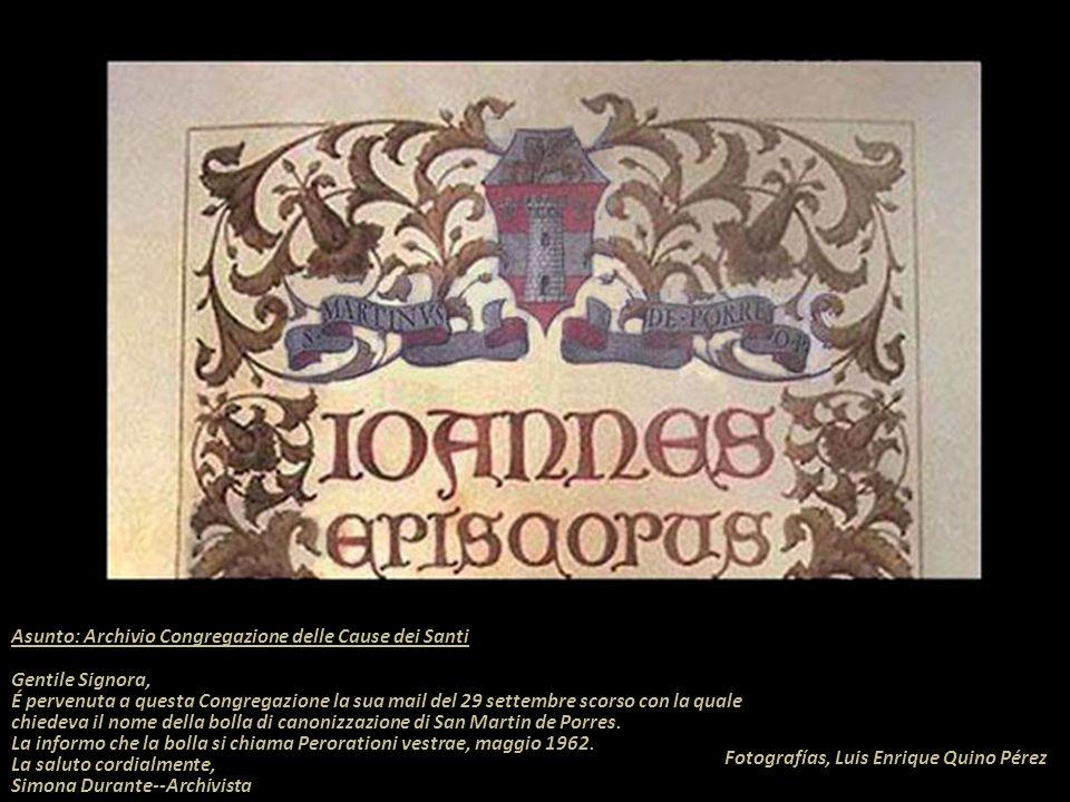 Asunto: Archivio Congregazione delle Cause dei Santi Gentile Signora,