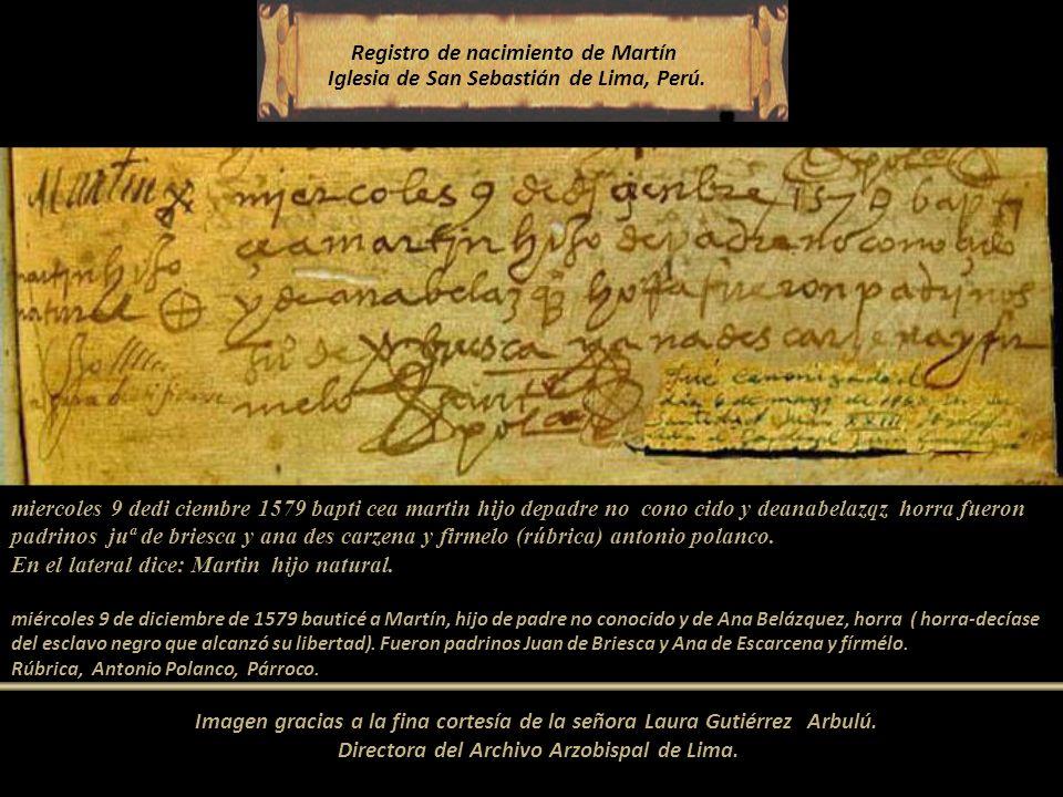 Registro de nacimiento de Martín