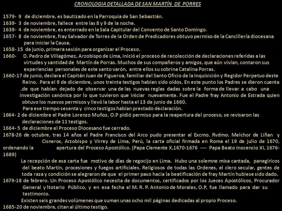CRONOLOGIA DETALLADA DE SAN MARTÍN DE PORRES